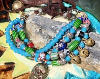 Day of the Dead Bracelet, Sugar Skull Bracelet, Day of the Dead Jewelry, Tribal Bracelet, Ethnic Bracelet, Trade Bead Bracelet, Bohohemian