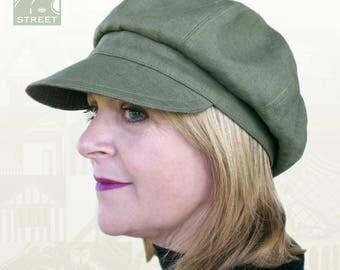 Green linen newsboy cap baker boy cap peaked cap