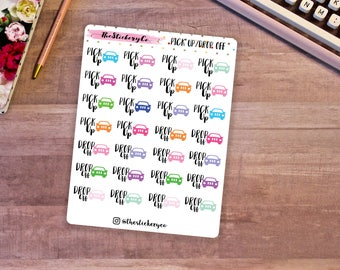 Functional Pick Up/Drop Off Stickers, Functional Planner Stickers, Car Stickers