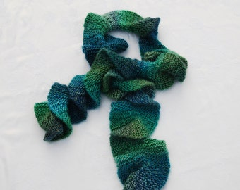 SALE!!!Warm Hand Knit Ruffle Scarf/Potato Chip Scarf /Wool-blend/Shades of Green and Blue/Unique Valentine's Gift for Women