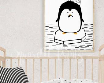Penguin Print, Penguin Art, Modern Home Decor, Animal Nursery Wall Art, Kids Room Decor, Black and White Animal Print, Arctic Party Decor