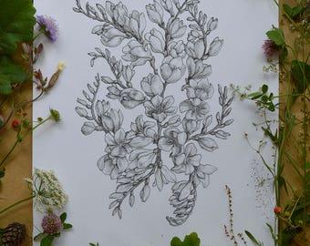 Black and white dot artwork freesia plant hand drawn original one piece