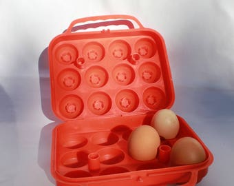 Vintage orange plastic egg box retro style 1970s egg storage kitchenalia