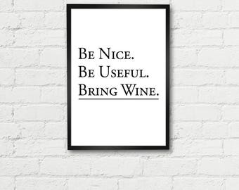 Bring wine Printable Wall Art, Home decor