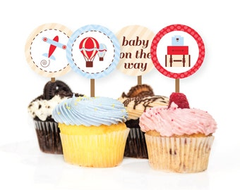 Baby Shower Boy - Printable Cupcake Toppers Labels - Precious Cargo Airplane Hot Air Balloon