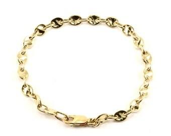 14K Yellow Gold Marina Mariner Design Chain Bracelet GBR 127-E