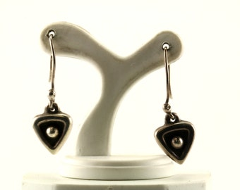 Vintage Heart Shaped Drop Dangle Earrings Sterling Silver ER 499