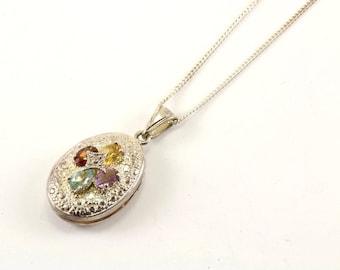 Vintage Oval Shape Crystal Locket Pendant Necklace 925 Sterling NC 1290