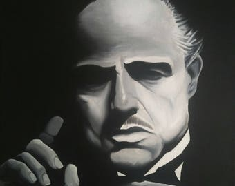 Original hand painted The Godfather - Marlon Brando as Don Corleone