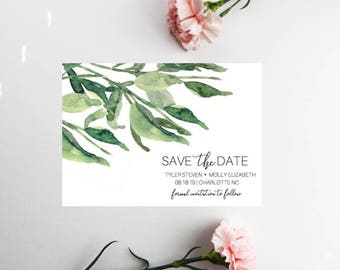 PRINTED Greenery Save The Date, Save The Date Invitation, Greenery Wedding, Save Our Date