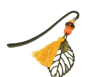 Bookmarks, bronze, leaf, orange
