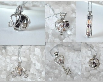 9 Styles! Pearl cage necklace! Elephant, carriage, cage, lotus flower, key, rose, heart, minnie, balloon Essential Oil Aromatherapy Diffuser