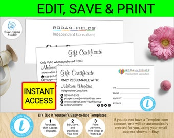 R+F Gift Certificate   Rodan and Fields Coupon   R+F Certificate   Printable Rodan and Fields Gift Certificates R+F Voucher Template