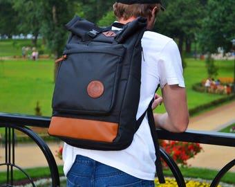 Black Backpack, Hipster Backpack, Canvas Backpack, Laptop Backpack, Roll Top Backpack, Large Backpack, Mens Backpack, Rolltop Backpack