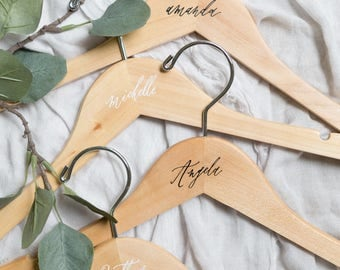 Personalized Wooden Hangers Calligraphy // Bridesmaid Hangers