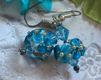 Flower Lampwork Earrings, Blue Floral Earrings, Lampwork Jewelry, SRA Lampwork Jewelry, SRA Lampwork Earrings, Gift For Her