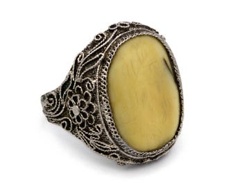 Chinese Export Scrimshaw Ring, Sterling Silver Filigree Ring, Antique 1910s Asian Jewelry, Ring Size 6, Genuine Ox Bone Ring, Floral Flowers