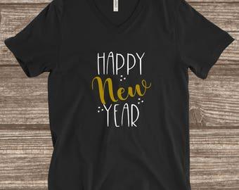 Happy New Year T-shirt - New Years T-shirts - Black and Gold - New Years Eve T-shirts - Custom New Year T-shirts