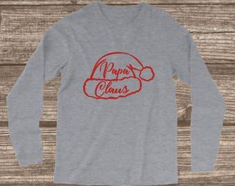 Papa Christmas Long Sleeve T-shirt - Papa Claus - Papa Shirts - Family Christmas T-shirts - Matching Christmas T-shirts - Santa T-shirts