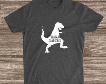 Nana Saurus Dark Heather Grey T-shirt - Nana Dinosaur Shirt - Nana Shirts