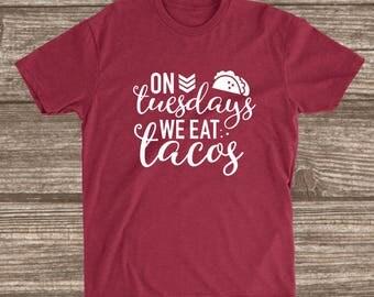 Taco Tuesday Cardinal Red Unisex T-shirt - Taco Shirts - Taco Humor - Funny Shirt