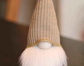 Upcycled Nordic Nisse/Tomte/Gnome - Tan & Gray