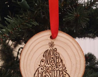 "Tree ""Merry Christmas"" Wood Ornament"