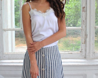 White silk top with fringe, Casual tank top, Casual top, white top, White tank top, Women white silk top, Basic white top, Lingerie silk top