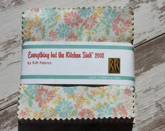 """Everything but the Kitchen Sink 2008 5.5"""" Fabric Squares by RJR Fabrics 65 Piece Charm Pack 1930s Repro Prints"""
