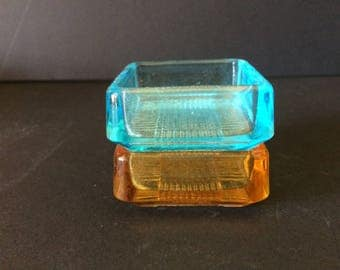 Vintage Set of Two Small Glass Ashtrays - 1960