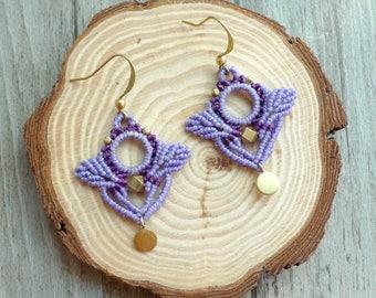 macrame earrings, hoop earrings, macrame jewelry (A35)