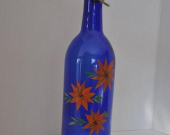 Olive Oil Dispenser - Hand Painted Orange Floral on Cobalt Blue Wine Bottle