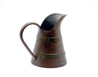 Vintage Copper Pitcher, Vintage Copper and Brass Banded Pitcher, Medieval Style Copper Pitcher, Copper Vase, Medieval Decor