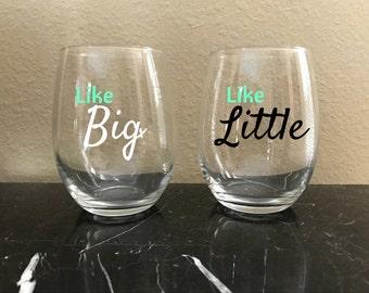 Big and Little Stemless Wine Glasses   Big   Little   G Big   Sorority   Big Little Reveal