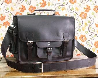 """16"""" Vintage Mens Leather Briefcase - Leather Messenger Bag - Leather Satchel - Leather School Bag - Leather Portfolio Dark Brown"""