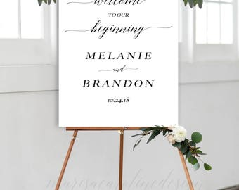 Welcome to our Wedding Sign Printable, Our Beginning Sign, Wedding Welcome, Calligraphy Sign, Printable Wedding Sign, MCD104