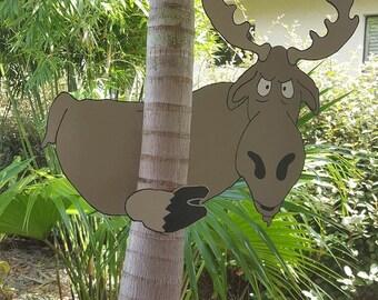 Moose Yard Art Tree Peeker!