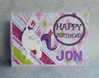 Unicorn birthday card, Handmade rainbow unicorn card, Personalised birthday card, Card with name, Pony birthday card, Daughter card,