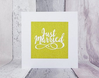 Luxurious glitter wedding card, White handmade Just Married glittered card, Colour choice: gold, blue, pink, silver, green, Glittery card