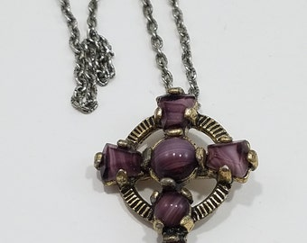 Celtic Cross Replica Necklace with Glass Amethyst Stone