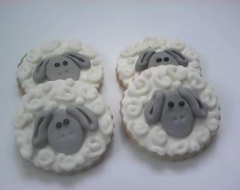 12 Mary Had A Little Lamb Cookies Party Favors Baby Shower Favors Decorated Cookies Baked Goods Baby Boy Cookie Sugar Cookies Hand Decorated