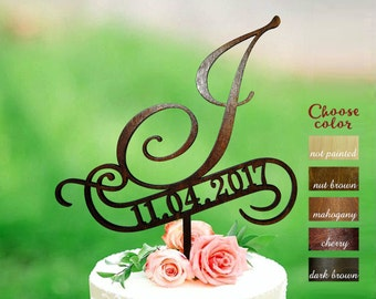 Letter j cake topper, wedding cake topper, cake toppers for wedding, rustic cake topper, cake topper j letter, cake topper wood date, CT#248