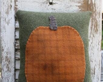 Vintage Wool Army Blanket Pillow | Pumpkin Pillow | Handstitched | Handsewn | Vintage Wool
