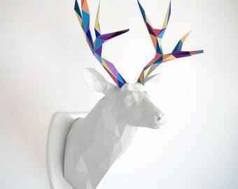 Papercraft deer trophy | DIY wall mount | Faux taxidermy deer sculpture | Printable & downloadable PDF pattern | Low poly deer trophy