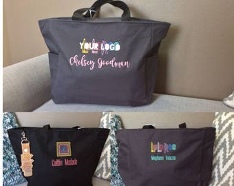 LuLa LLR Lula Embroidered Laptop Business Tote Bag Carry All Purse Gift Bag personalized