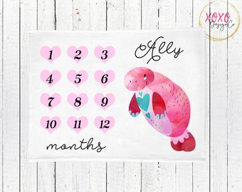 Monthly Milestone Blanket / Manatee Baby Blanket / Heart Baby Blanket / Manatee Baby Bedding / Valentines Baby Shower Gift / Manatee Nursery