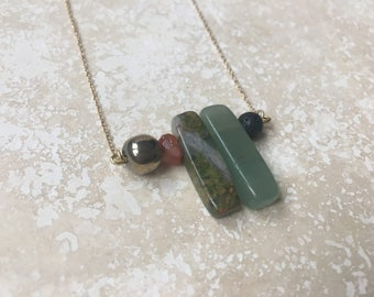 Crystal + Lava + 14k Gold Essential Oil Diffuser Necklace