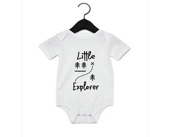 Little Explorer Shirt - Youth Shirt Toddler Shirt Baby Onesie Camping Camp Adventure Field Trip Trees Explore Gift Birthday Wilderness Lake