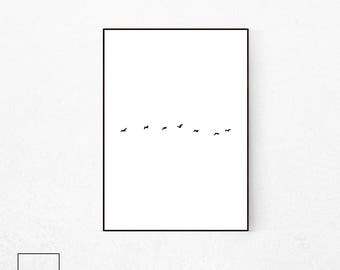 Minimalist Bird Print, Modern Wall Art, Scandinavian Decor, Nordic Home, Black and White Art, Scandinavian Print, Minimalist Print, Download