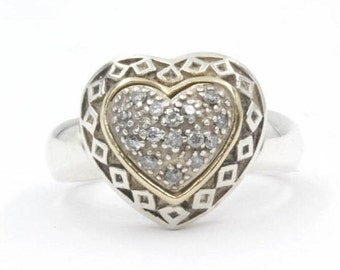 Diamond Heart Ring, Size 7, 925 Sterling Silver (1388)